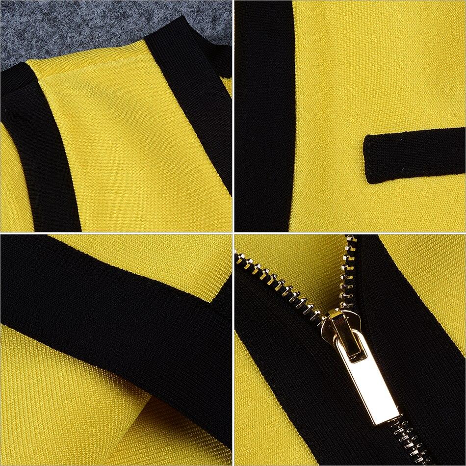 Adyce 2018 Hochwertigen Verbandkleid Yellow & Black Frauen V ...
