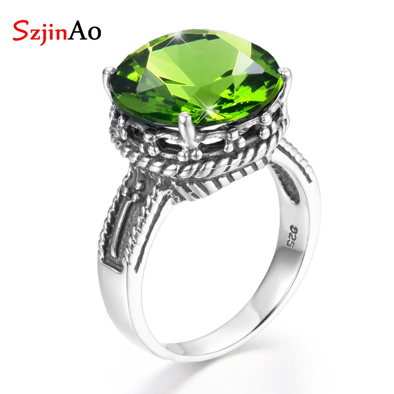 SzjinAo Wholesale Dropshipper 925 sterling silver Finger Ring August Birthstone Peridot Rings For Women Engagement Jewelry Gift