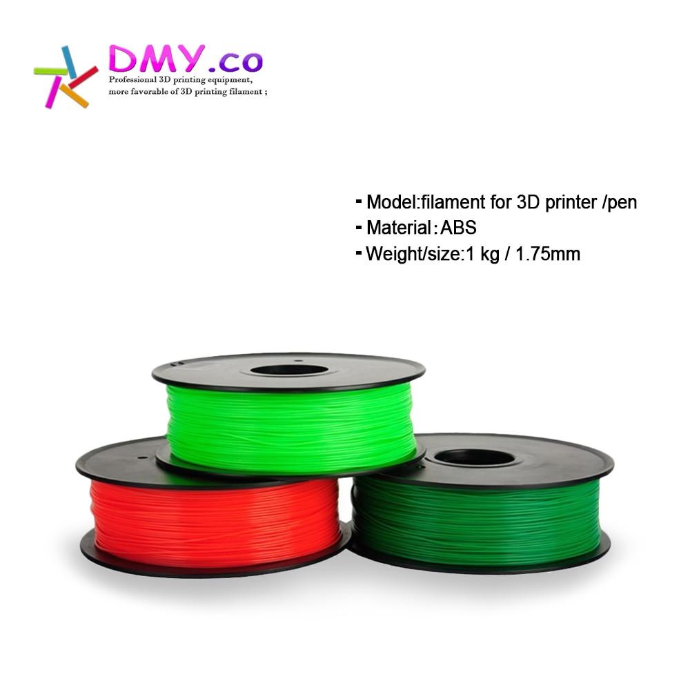 dmyco 3d printer abs filament samples 175mm 1kg filamento impressora extruder for makerbot reprap tolerance sample extruder