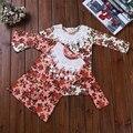 Novo 2016 Do Bebê Meninas de Manga Comprida T Camisa Da Menina T-shirt de Algodão Outono Crianças Flor Bonito Tee Crianças Topos de Moda
