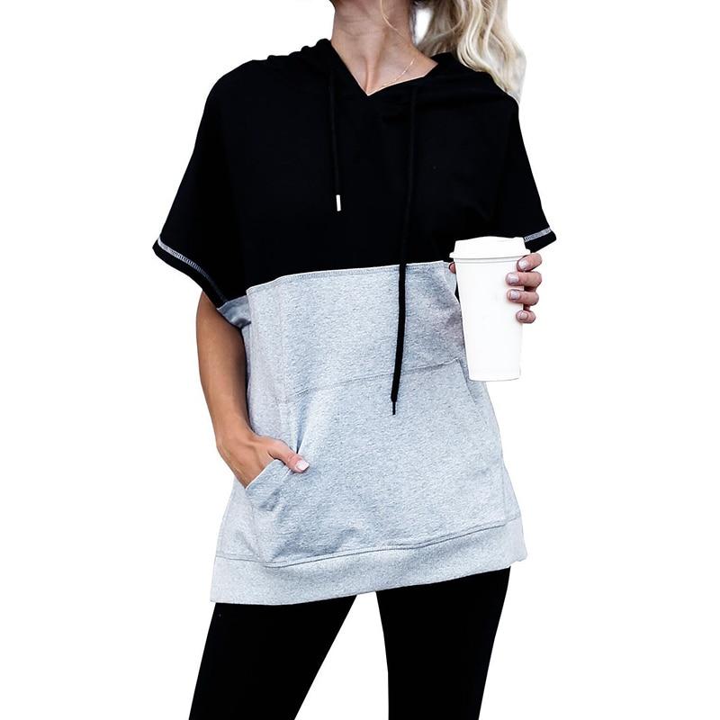 New 2018 Women Summer Tops Shirt Short Stitching Fashipn Streetwear Pullover T Shirt With Hat