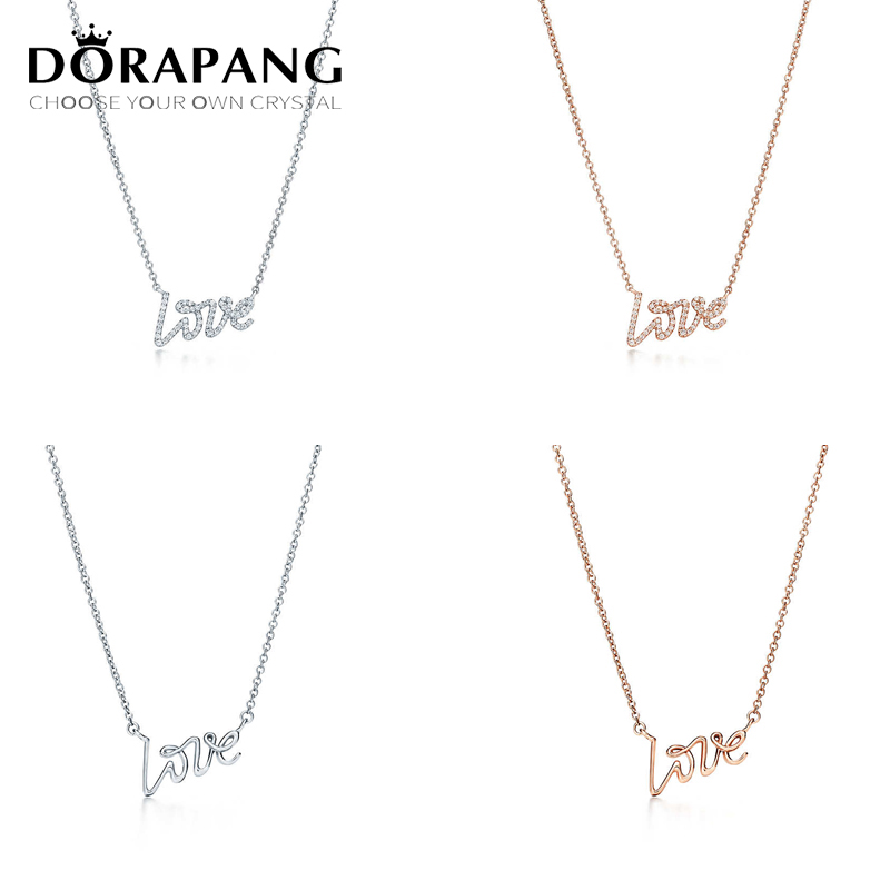 DORAPANG Fashion 100% 925 Sterling Silver LOVE Pendant 42CM Pendants & Necklaces Women Sterl Silver Jewelry Free Package Mail