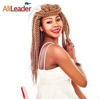 AliLeader Havana Mambo Twist Crochet Braids Black Blonde Silver Burgundy Crochet Twist Hair Heat Resistant Synthetic