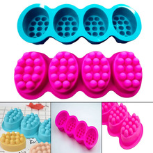 Newly Silicone Soap Mold 4 Cavities Ellipse Massage Brush Shape Aromatherapy Wax Mould Cake Baking