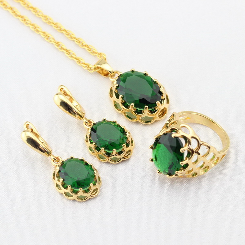 Wpaitkys Green Created Emerald Gold Color Bridal Jewelry Sets For