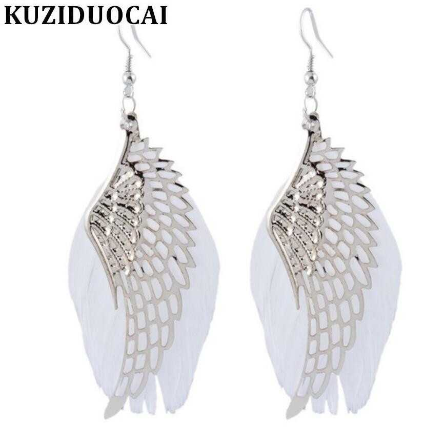 Kuziduocai New Fashion Jewelry DIY Angel Wings Natural Feather Stud Earrings For Women Pendientes Brincos Statement Gift E-140