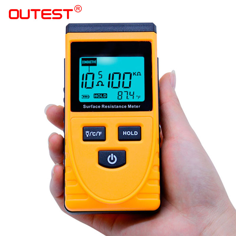 OUTEST Surface Resistance Meter Handheld Earth Resistance Meter Lcd Display Ohm Meter Come With Ground Wire GM3110