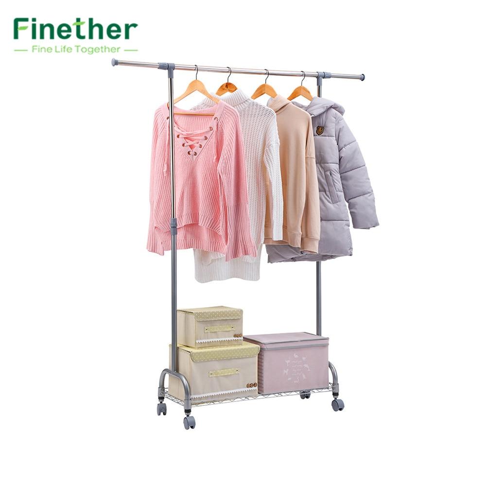 Finether Adjustable Rolling Garment Rack Clothes Storage