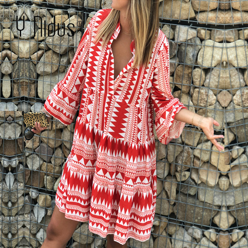 Y Nidus Summer Striped Dresses Mini Women 2019 Boho Autumn Party Short Beach Dress Casual V-Neck Loose Sundress Femme Vestidos