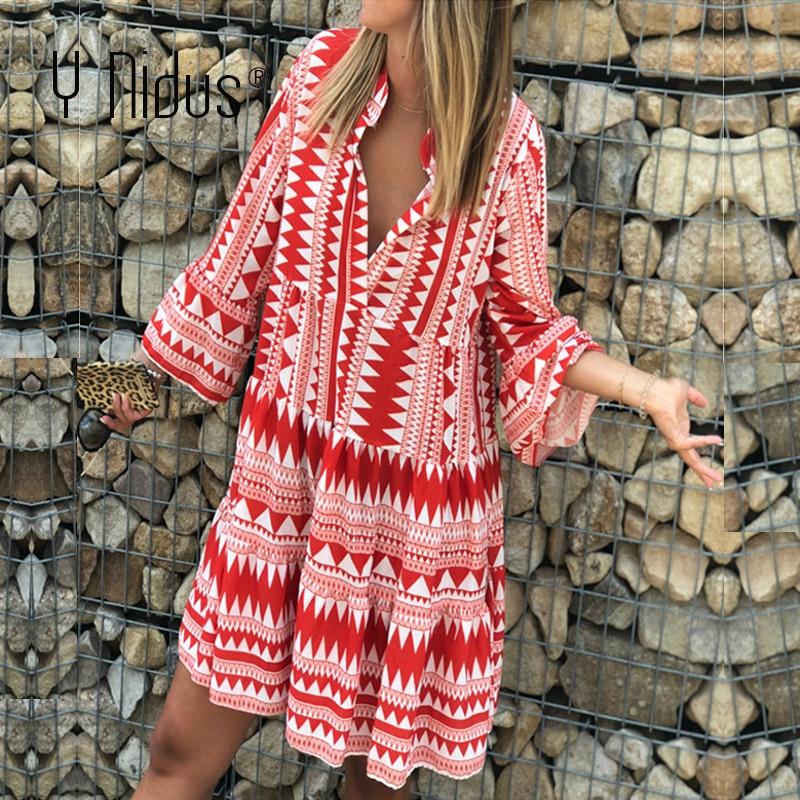 Y Nidus Summer Striped Dresses Mini Women 2019 Boho Autumn Party Short Beach Dress Casual V-Neck Loose Sundress Femme Vestidos