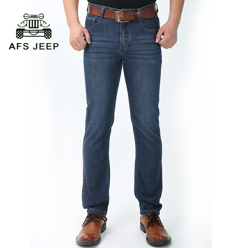 ФОТО Afs Jeep Men Straight Denim Jeans Trousers Plus Size M-3XL High Quality Cotton Logo Brand Mens Jeans 75cy