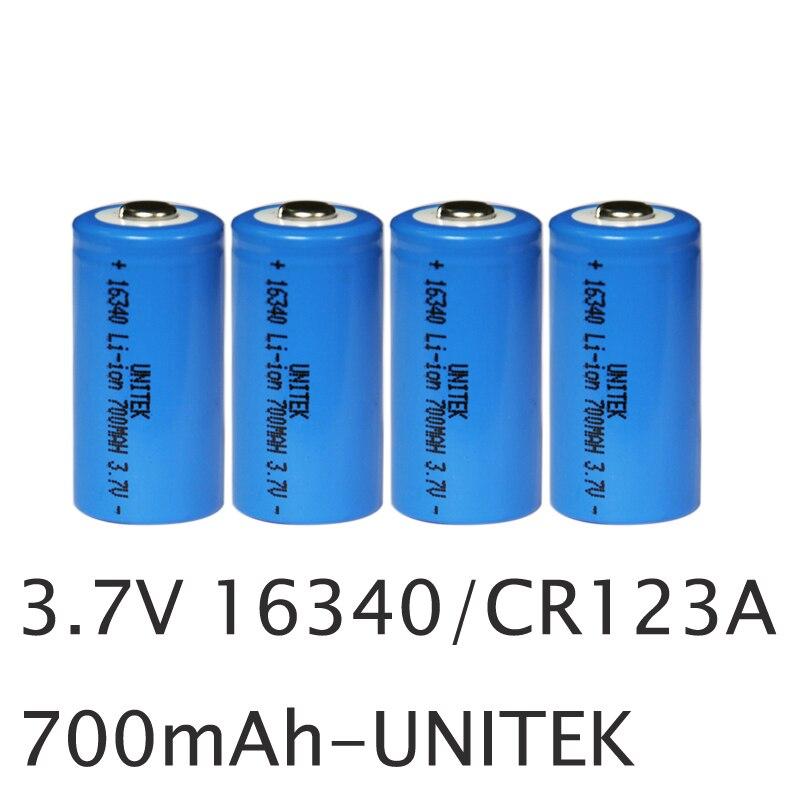 4pcs UNITEK ICR 3 7v 16340 li ion battery real 700mah CR123A CR 123A rechargeable
