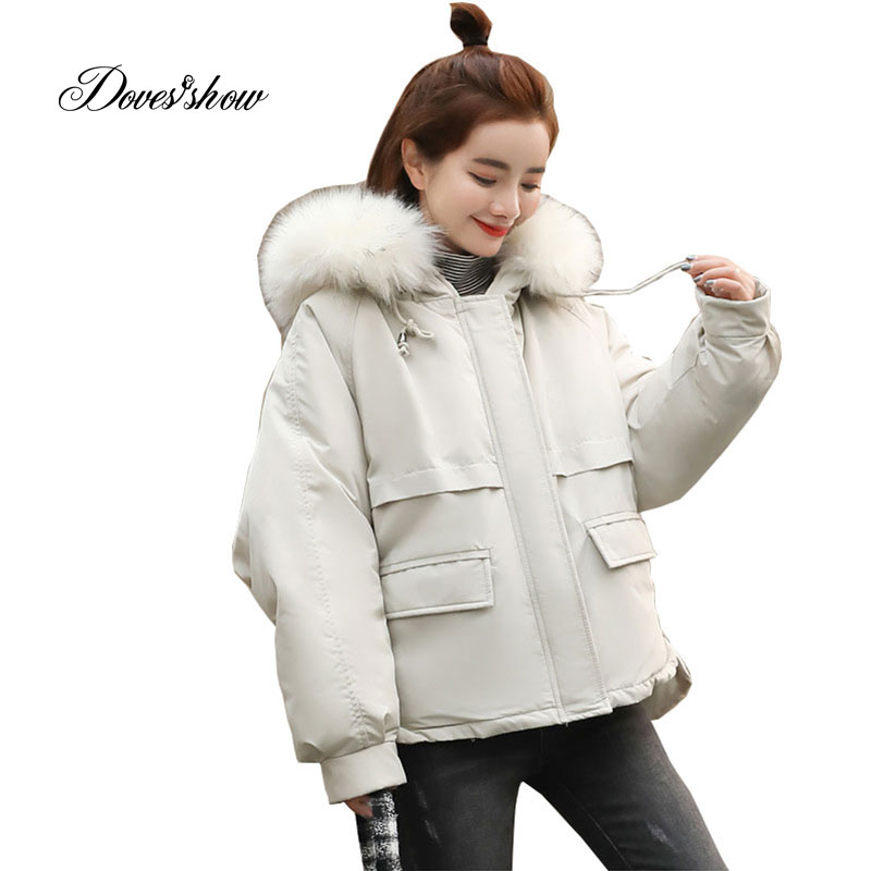 Hooded Fur Collar Winter   Down     Coat   Jacket Short Warm Women Casaco Feminino Abrigos Mujer Invierno 2018 Parkas Outwear   Coats   Ru50