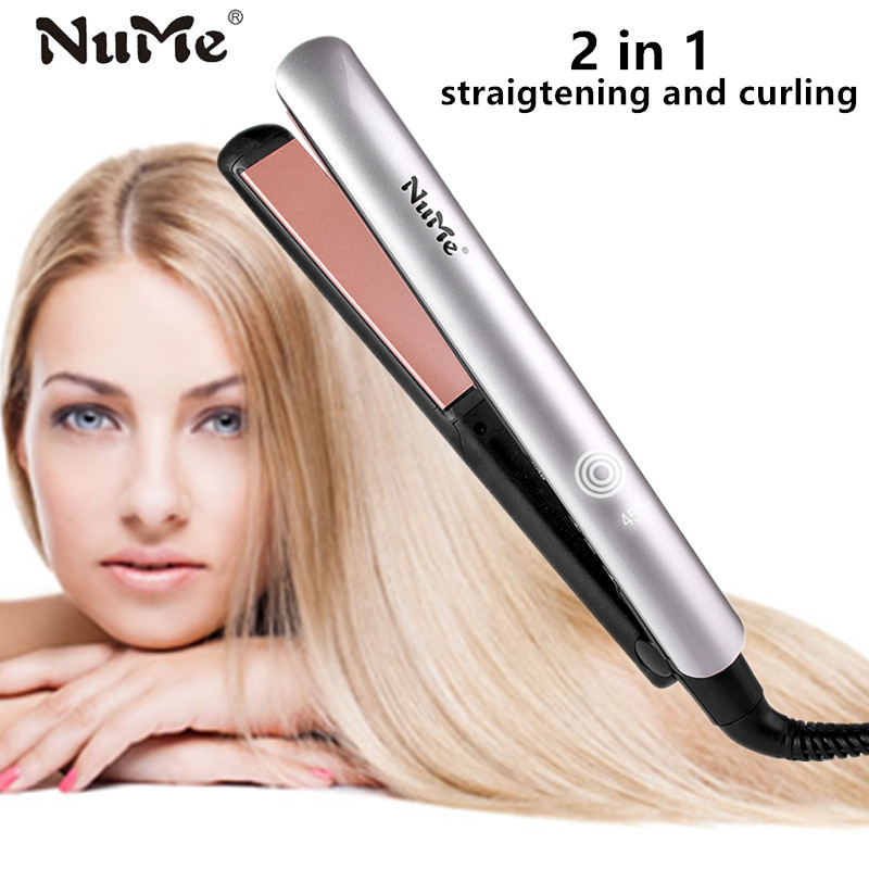 NuMe Flat Iron Keratin Therapy hair Straightener Ceramic Plate Straightening iron & Hair Curler Curling Styling Tool LCD display ckeyin 9 31mm ceramic curling iron hair waver wave machine magic spiral hair curler roller curling wand hair styler styling tool