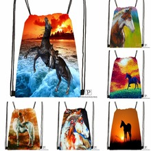 Custom Dark Horse Sunset Drawstring Backpack Bag Cute Daypack Kids Satchel (Black Back) 31x40cm#180531-04-58