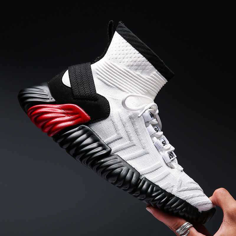 BomKinta Black White Red Mixed Colors Men Casual Shoes Plus Size 46 Stretch Sock Shoes Men Fly Weave Sneakers Men Footwear