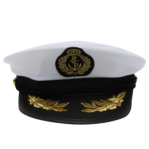 d858b80917ee9 Adult Yacht Boat Captain Hat Navy Cap Ship Sailor Costume Party Fancy Dress  Black+White