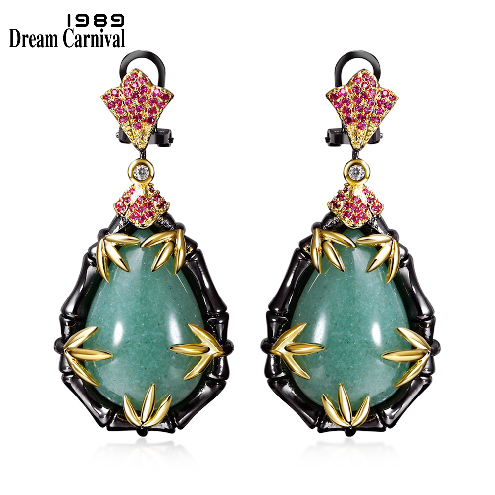 DreamCarnival 1989 Neo-Gothic Earrings for Women Black Gold Color Vintage Palace Jewelry Fuchsia Green Zircon Pendientes ZE52832DreamCarnival 1989 Neo-Gothic Earrings for Women Black Gold Color Vintage Palace Jewelry Fuchsia Green Zircon Pendientes ZE52832