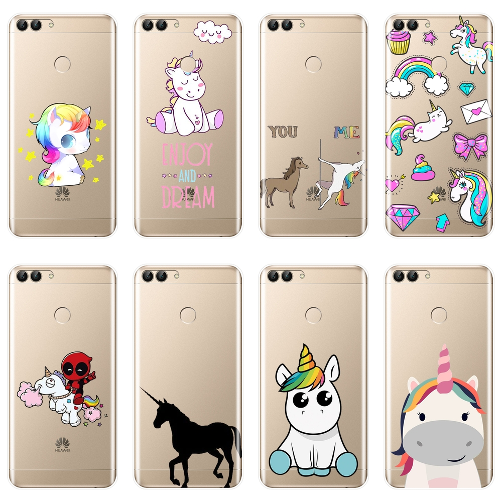 Cute Unicorn Phone Case For Huawei P20 Lite Pro P9 P10 Plus P Smart Silicone Back Cover For Huawei P7 P8 P9 Lite Mini 2017 Case image