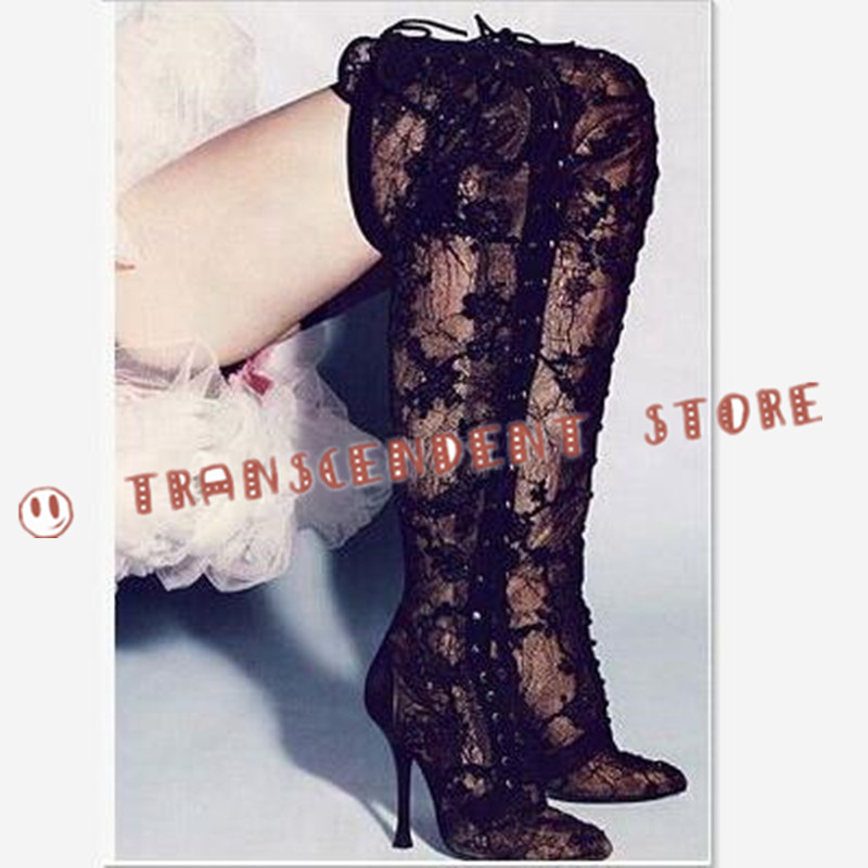 New Fashion Cross-tied Summer Boots Sexy Lace Black Over-the-Knee Pointed Toe Boots High Heel Front Lace Up Women Party Shoes