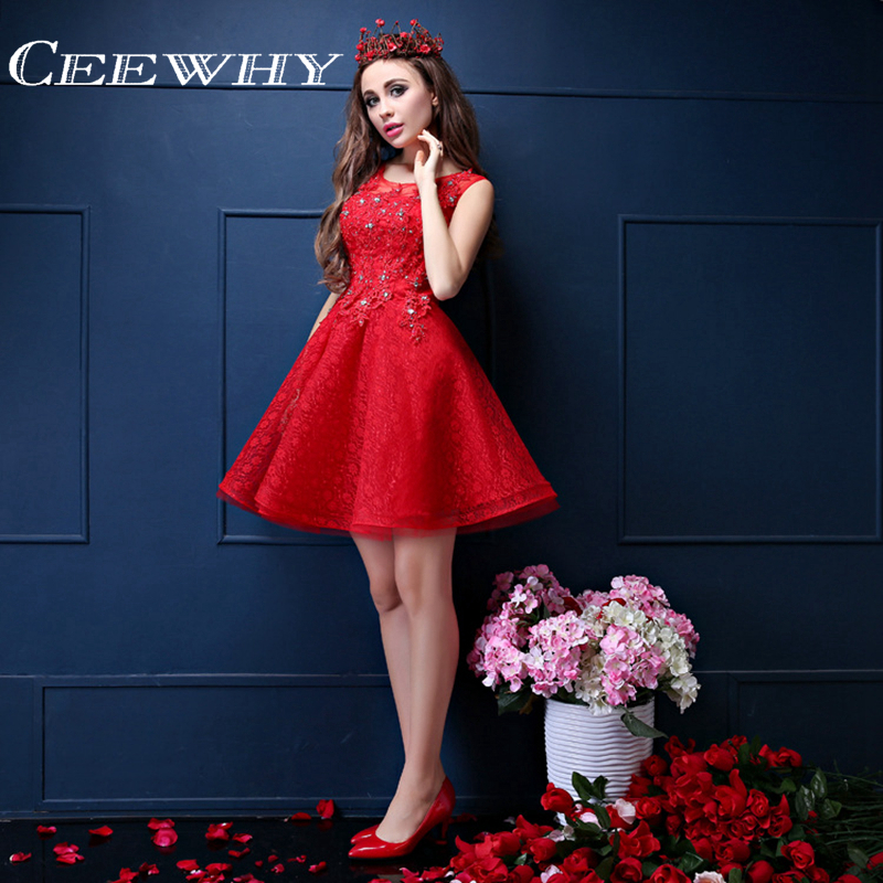 CEEWHY Sleeveless Crystal Embroidery Lace   Dress   Red Pink   Cocktail     Dress   Short Wedding Party Robe de Mariagged Formal   Dress   Plus