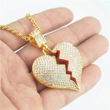 21b4e2b51a3d Moda Corazón Roto colgante collar enlace collar de cadena de acero  inoxidable par collares Cristo regalo