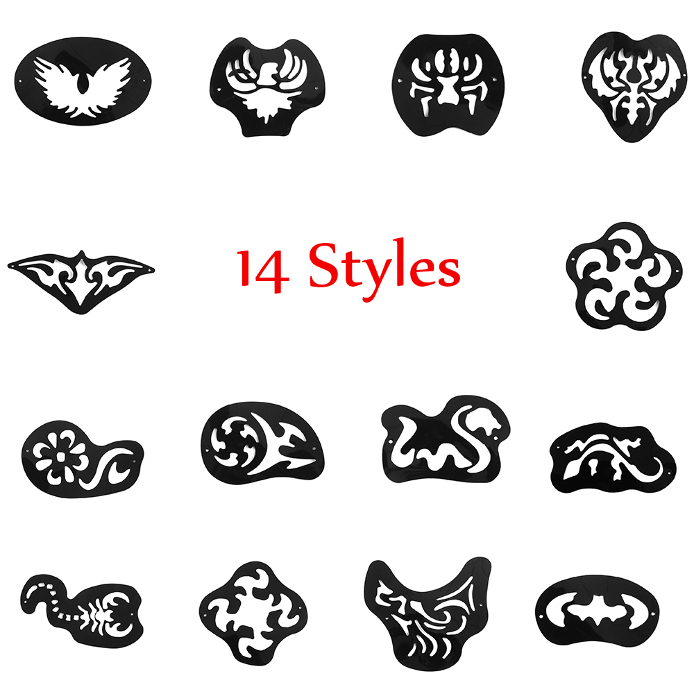 14Styles/Set Hair Styling Carved Cool Men Tattoos Patterns Eyebrow Beard  Salon Engraved Tatto Template Tweezers Set Barber