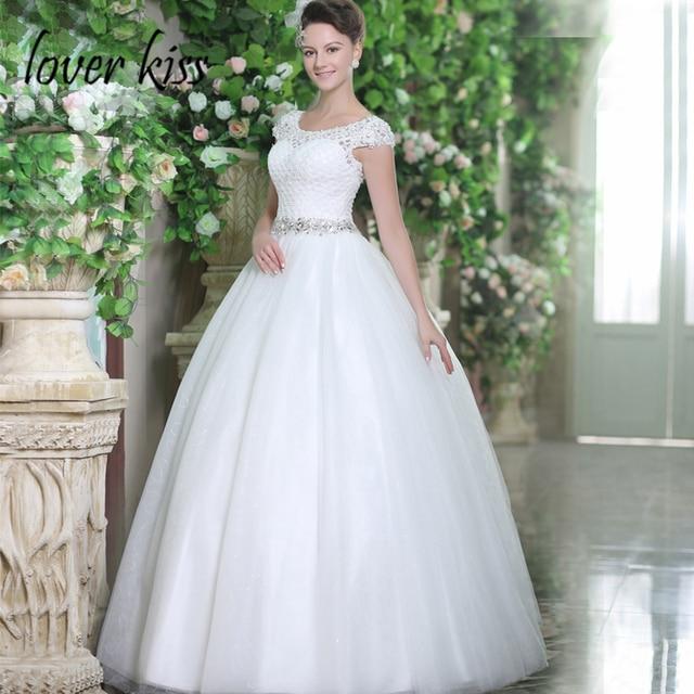 Lover Kiss Vestido Novia Boho Shiny Sequined Tulle Wedding Dress Cap
