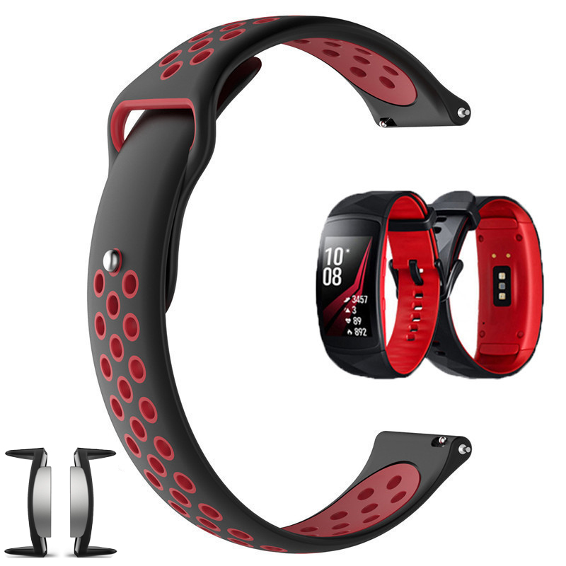 For Samsung Gear Fit2 Straps /Gear Fit 2 Pro Strap Silicone Smart Watch Sport Band Ouble Color Soft Breathe Belt With Adapter