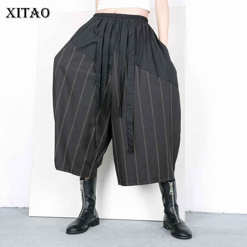 [XITAO] Spring Summer 2019 Women New Arrival Loose Casual Fashion Striped Flat Elastic Waist Patchwork   Wide     Leg     Pants   WBB2879