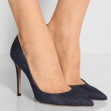 Dame Mode Schuhe Frauen Blau Leinwand Punkt Toe High Heels Rote Untere Kleid & Party & Hochzeit Plattformen Pumpt 15 CM