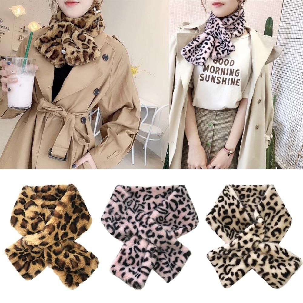 12x80cm Women's Winter Fake Faux Fur Leopard Print   Scarf     Wrap   Collar
