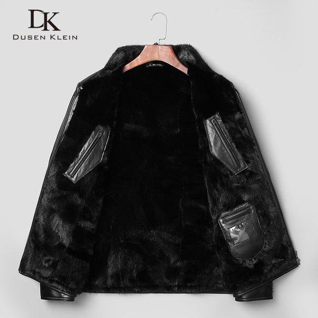 Dusen Klein men fur coat Genuine sheepskin Slim/business style Designer mink collar+Liner Winter leather jackets 71J7853