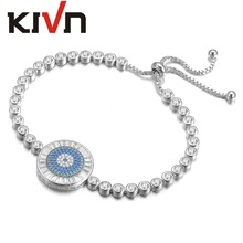 KIVN Fashion Jewelry Adjustable Blue eye Pave CZ Cubic Zirconia Wedding Bridal Bracelets for Women Birthday Christmas Gifts