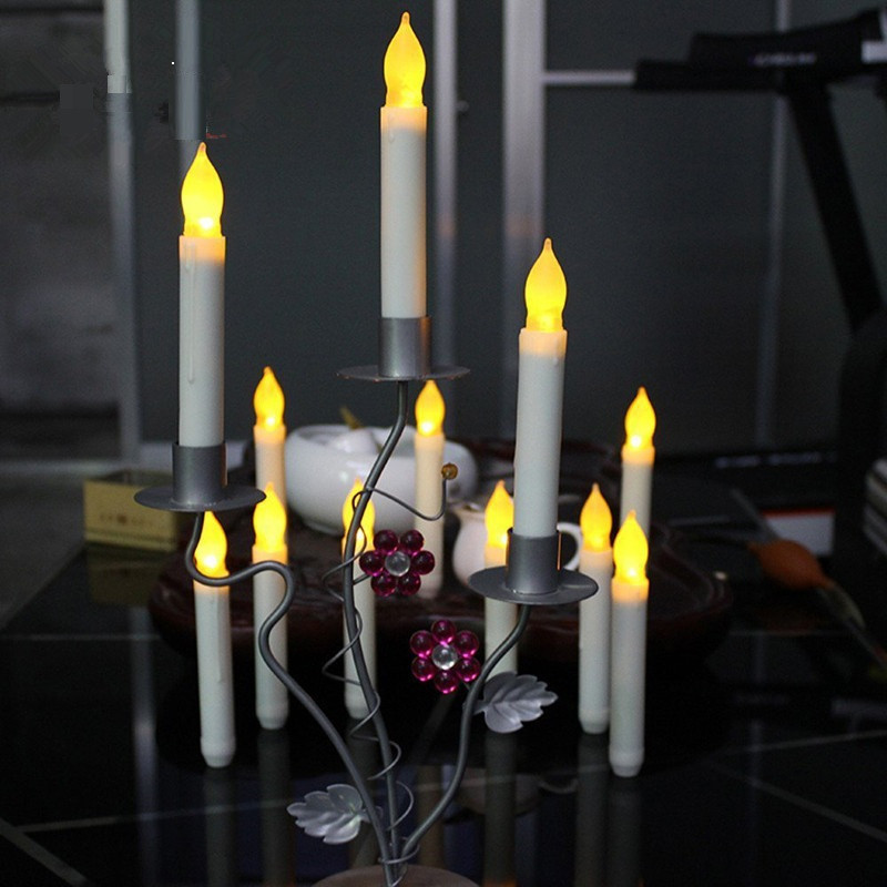 12pcs 6 inch flameless drip flickering led white taper candles decorative led dinner taper candles