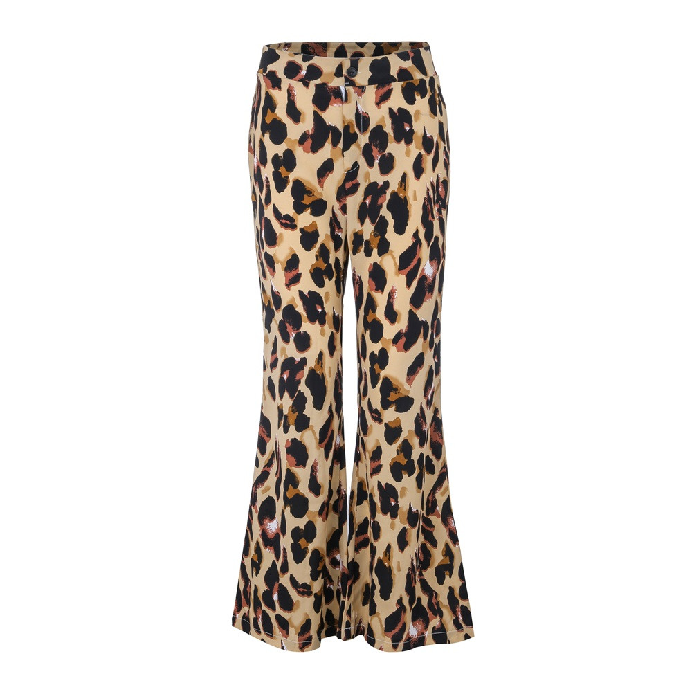 Women pants fashion women's print sexy leopard elastic trousers loose wide leg pants high waist wide leg pants oc18