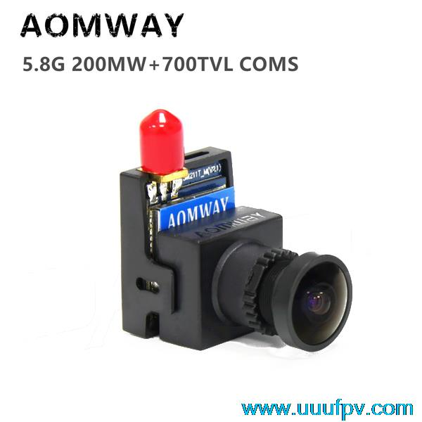 FPV AOMWAY 5.8G 8CH 200mW AV Transmitter Integrated 1/3 CMOS HD 700TVL Camera For Receiver Aerial Photography QAV250 Drone 19g fx797t 5 8g 25mw 40 channel av transmitter with 600 tvl camera soft antenna for indoor fpv racing drone