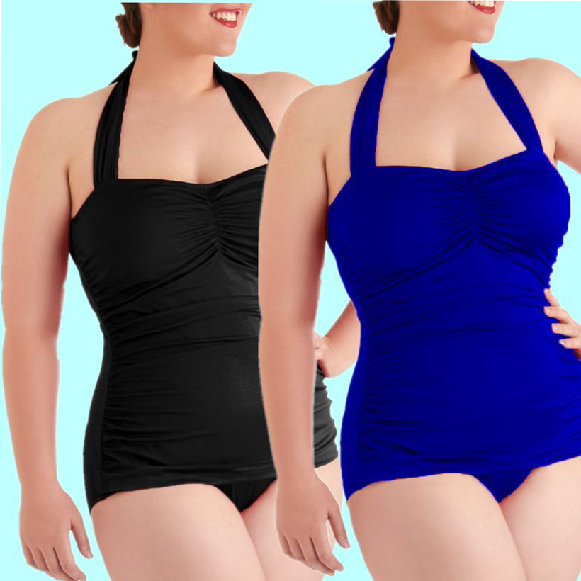 One Piece Swimsuit Plus Big Size Swimwear Women 2017 Summer Beach Wear Halter Push Up Bathing Suit Tight High Waist Swimsuit