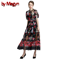By Megyn 2017 Summer Designer Dress Women High Quality Puff Sleeve Cute Animal Printed Rose Floral