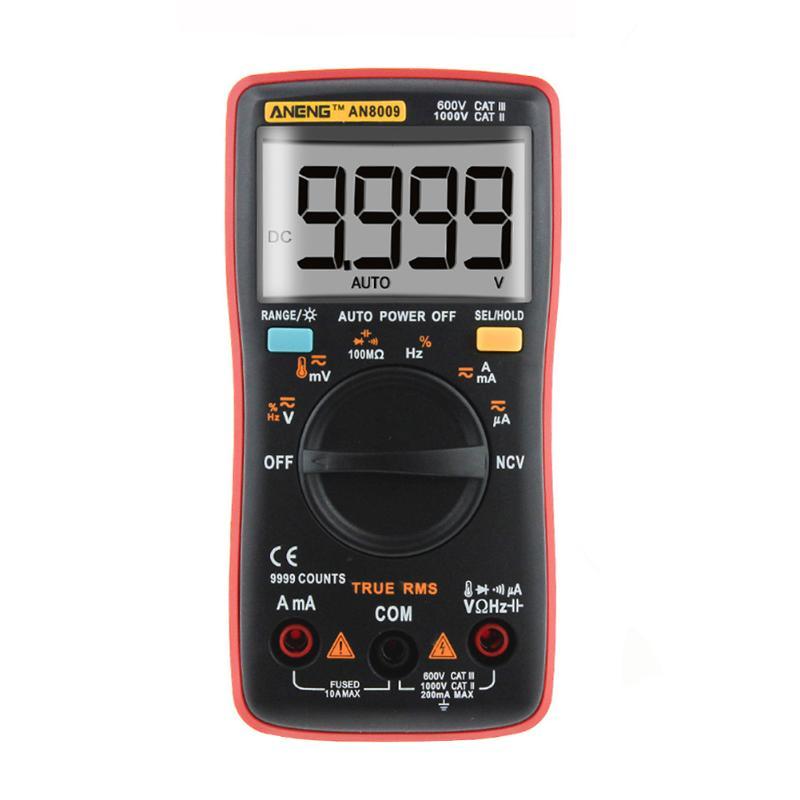 True RMS Digital Multimeter 9999 Counts Backlight AC DC Voltage Ammeter Current Ohm Temperature Meter Auto