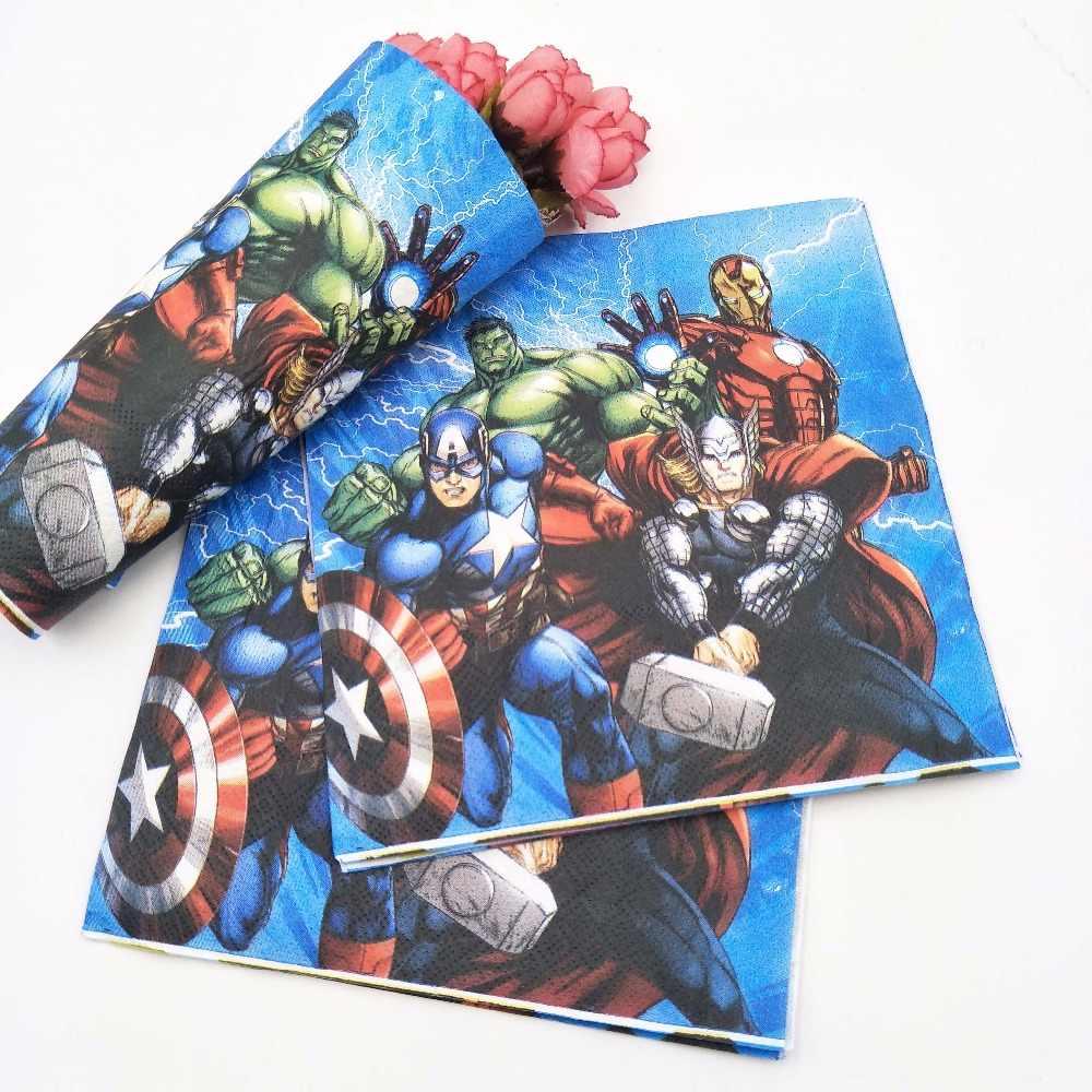 20 ชิ้น/เซ็ต Avengers กระดาษผ้าเช็ดปากการ์ตูนสำหรับเด็กวันเกิดตกแต่ง Avengers Theme PARTY Supplies แบบใช้แล้วทิ้ง
