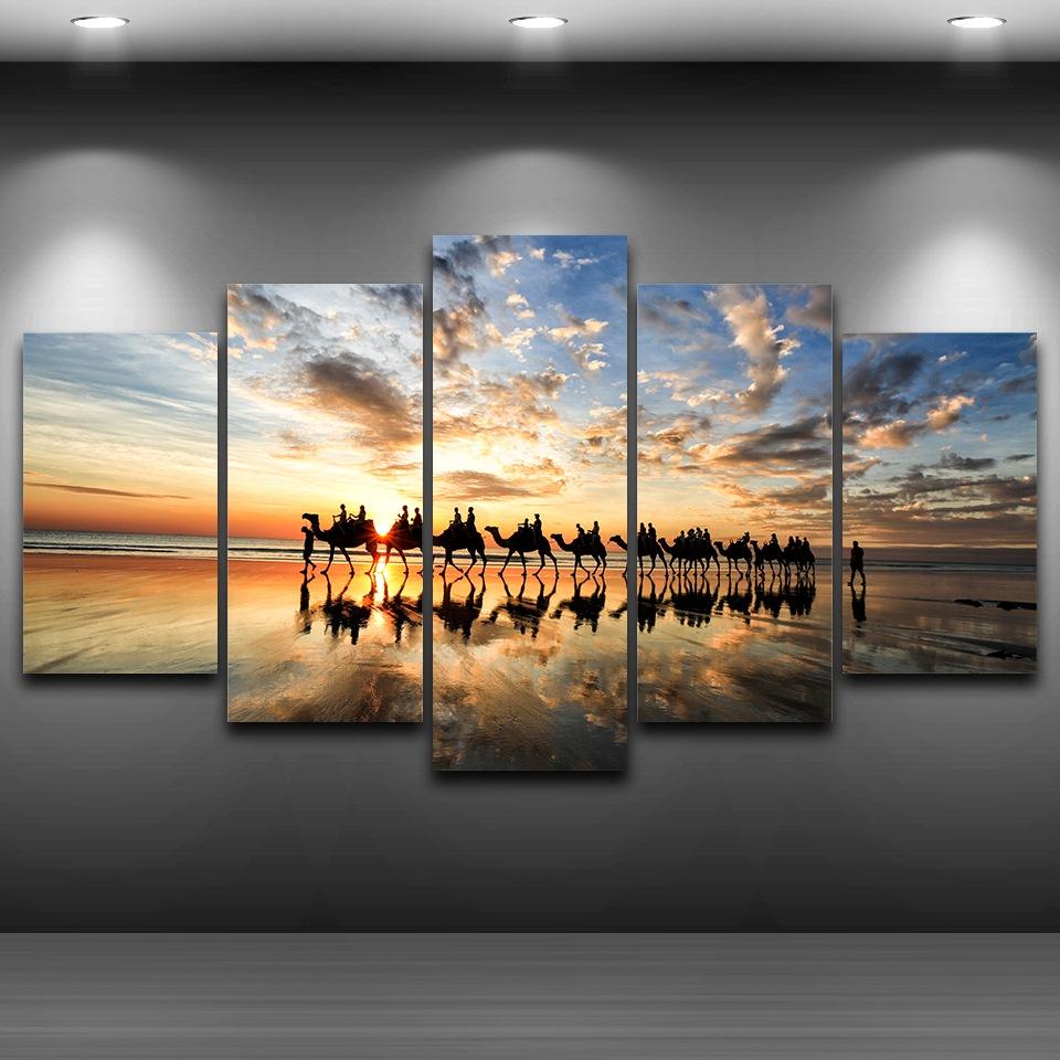 Kumsal duvar boyas rengi ile modern ve k ev dekorasyonu - Tuval Boyama Mod Ler Duvar Sanat Resimleri Er Eveli 5 Par A Beach Sunset Seaside Develer Ekibi Posteri Oturma Odas Ev Dekor P