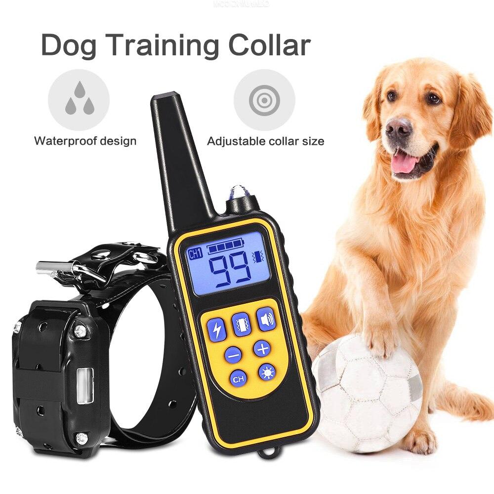 800 m eléctrico perro Collar de entrenamiento para mascotas Control remoto recargable impermeable con pantalla LCD para todo el tamaño corteza- collares