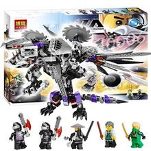 691pcs BELA ninja 10224 Original Box Gifts Set Nindroid Mech Dragon Minifigures Building Figures Toys Compatible With lego