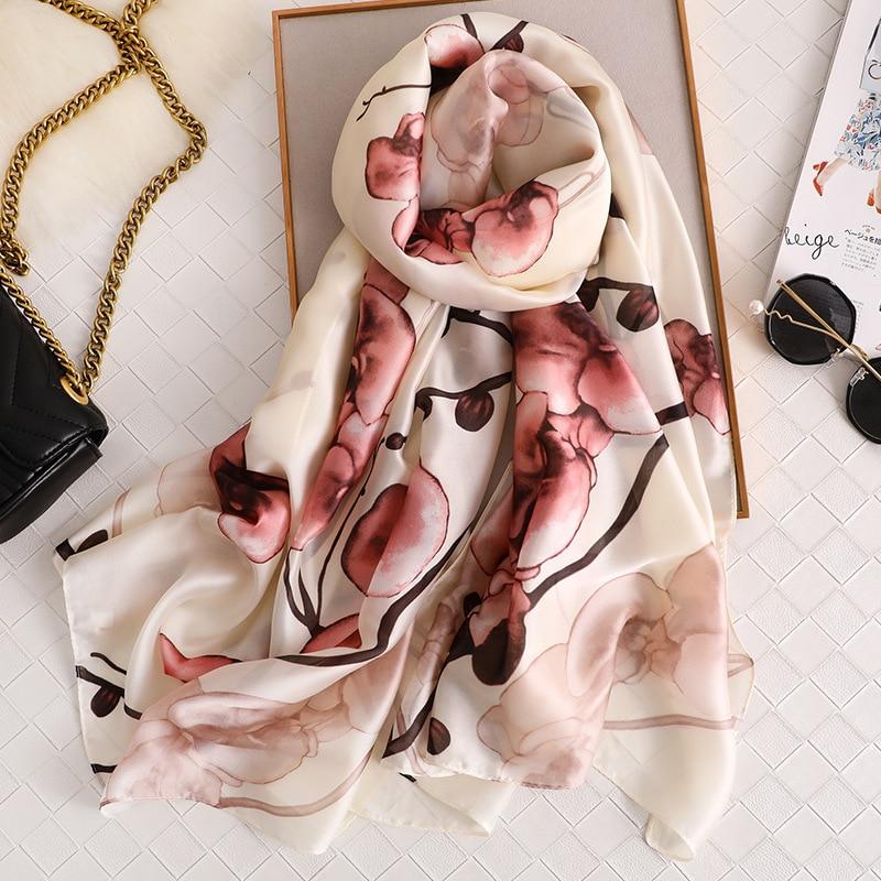 Floral Printed Silk Scarf Women 2020 New Fashion Long Large Shawls And Wraps High Quality Soft Bandana Lady Foulard Hijab Femme