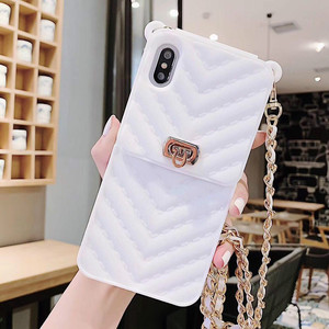 Image 4 - Card Slot Long Shoulder Strap Chain Case Cover for Iphone 11 XR XS MAX 6 7 8 Plus XS X Case Fashion Crossbody Wallet Case Coque