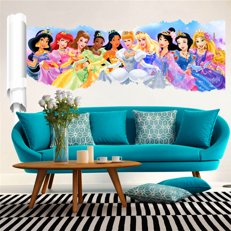 3d effect animation princess wall stickers for kids rooms decor - Home Decor