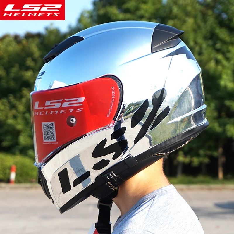 Оригинальный LS2 FF390 выключатель Разделение мотоциклетные шлемы с внутренней солнцезащитный Щит Chrome анфас гоночный мотоцикл шлемы размеры s ...