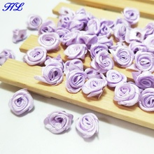 10Purple Ribbon Rose Flowers Wedding Decoration DIY Crafts Apparel Accessories Sewing Appliques 15MM A655