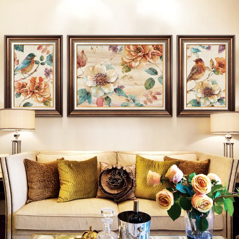 Modern American style Diamond Painting Living Room Triptych Painting Full Of Flowers And Birds Diamond Cross